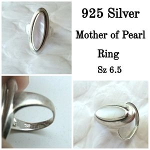 Stunning 925 Silver Mother of Pearl Ring Sz 6.5